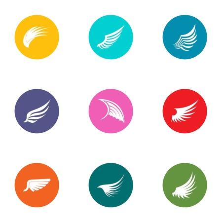 Wing icons set, flat style