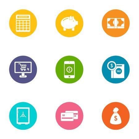 Money supply icons set, flat style Illustration