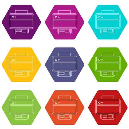Printer icons set 9 vector