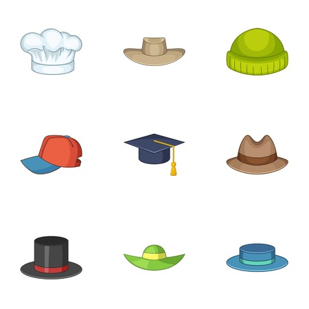 Knitted hat icons set, cartoon style