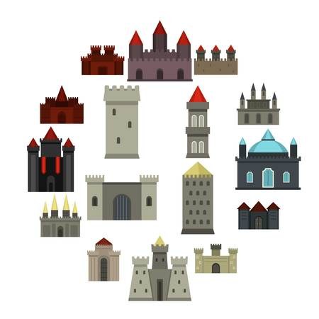 Icônes de tours et châteaux dans un style plat