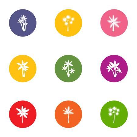 Floret icons set, flat style Illustration