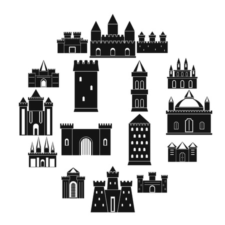 Towers and castles icons set, simple style