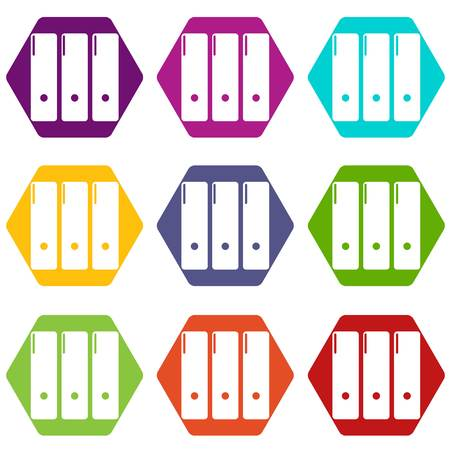 Office folder icons set 9 vector