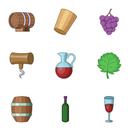 Home alcohol icons set, cartoon style