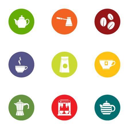 Tea pleasure icons set, flat style