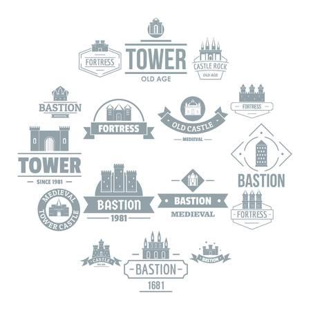 Jeu d'icônes logo tours châteaux, style simple