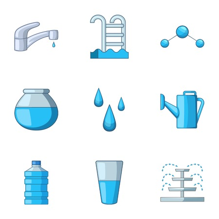 Home water icons set, cartoon style
