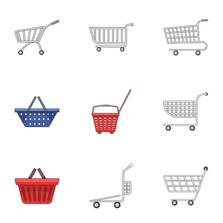 Metal cart icons set, cartoon style