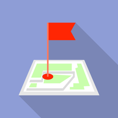 Flag map pin icon, flat style