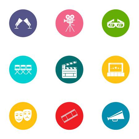 Video file icons set, flat style Illustration