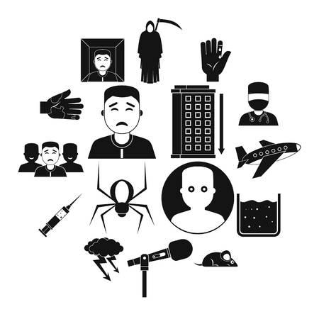 Phobia symbols icons set, simple style