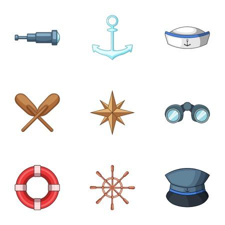 Shipping captain icons set, cartoon style