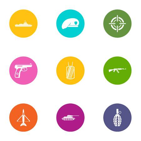 Military member icons set, flat style