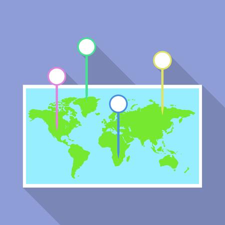 World map pins icon, flat style