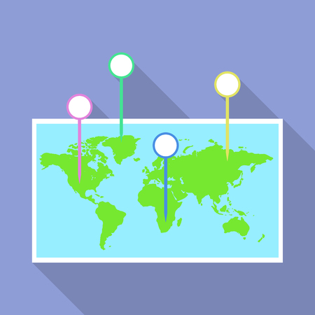 World map pins icon, flat style