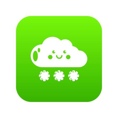 Snow icon green vector
