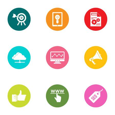 Technical business icons set, flat style