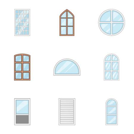 Window pane icons set, cartoon style
