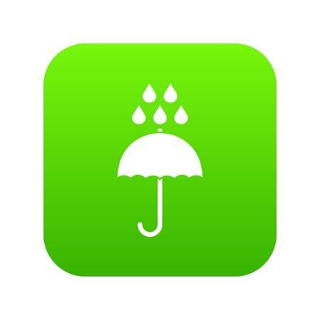 Umbrella and rain drops icon digital green