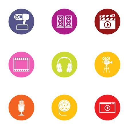 Media center icons set, flat style Banque d'images - 101436217