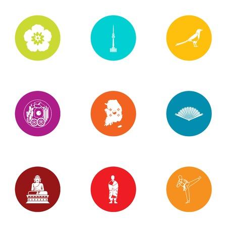 Asian craze icons set, flat style