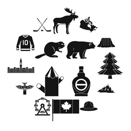 Canada travel icons set, simple style 向量圖像