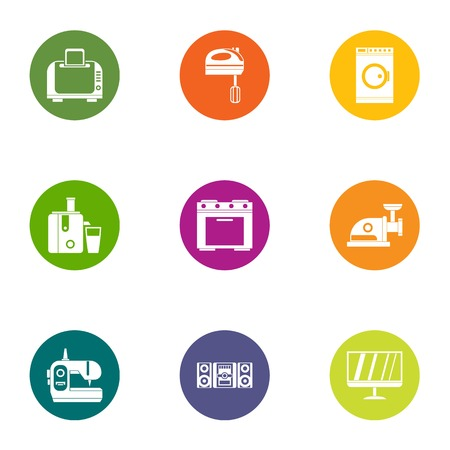 Modern apartment icons set, flat style Illustration