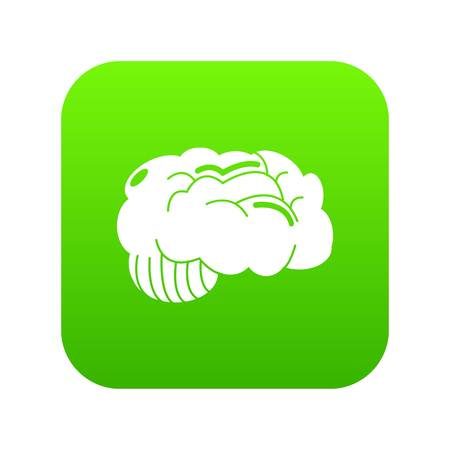 Brain icon green vector