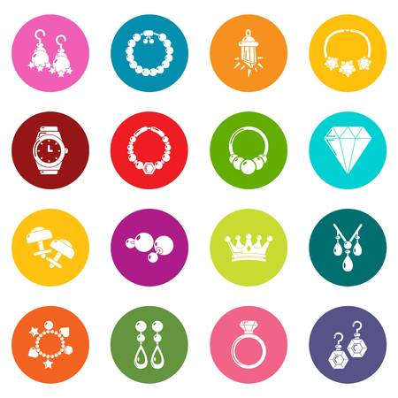 Jewelry shop icons set colorful circles vector