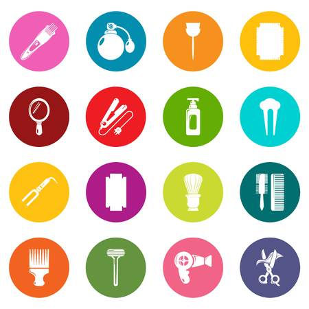 Hairdresser icons set colorful circles vector
