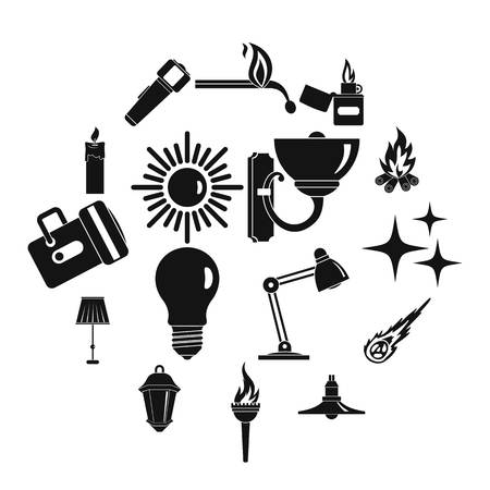 Light source symbols icons set, simple style Illustration