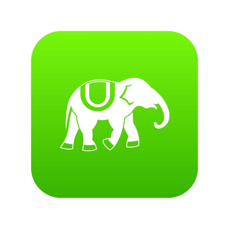 Elephant icon digital green Иллюстрация