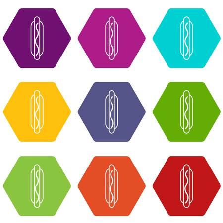 Hot dog icons set 9 vector