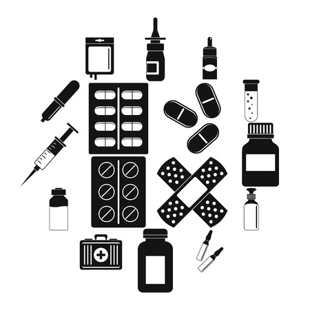 Different drugs icons set, simple style