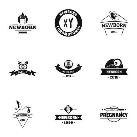 Childbirth logo set, simple style