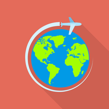 Global airway icon, flat style Illustration
