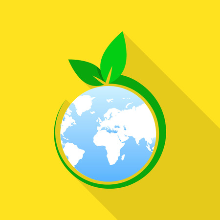 Global green day icon, flat style