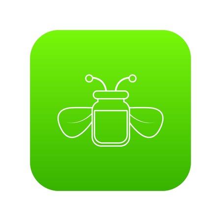Jar of bee honey icon green vector