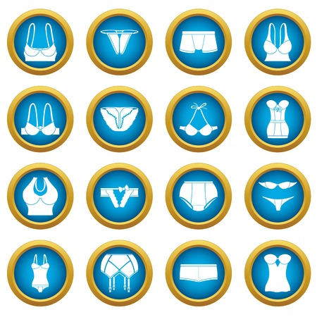 Underwear icons set color, simple style