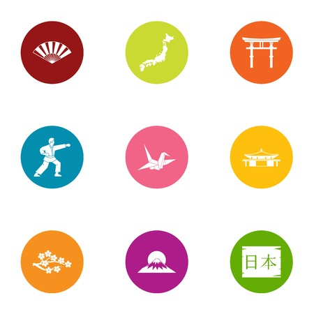 Life in Japan icons set, flat style