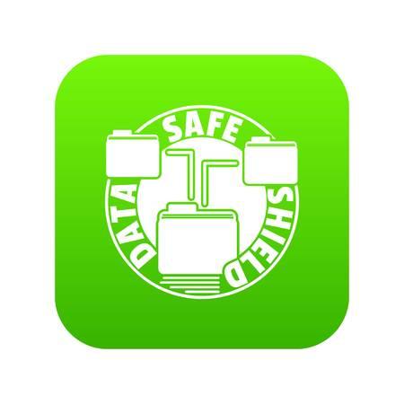 Data save shield icon green vector Illustration