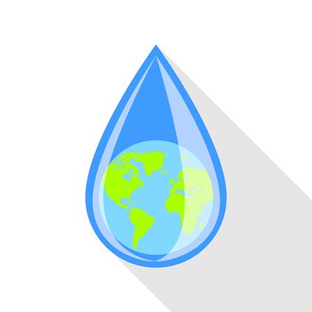 Globe in drop icon, flat style