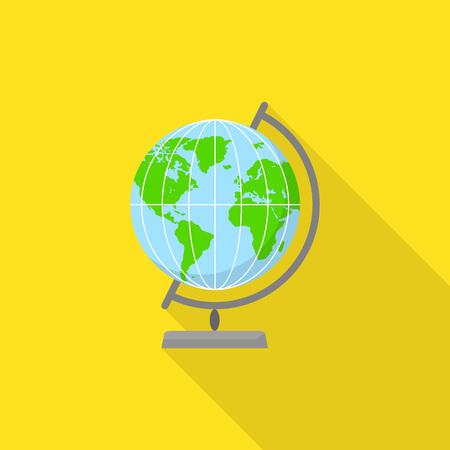 Geography globe icon, flat style