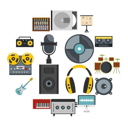 Icone di elementi di studio di registrazione impostate in stile piano