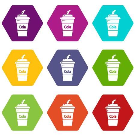 Cola plastic glass icons set 9 vector