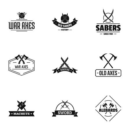 Old weapon logo set, simple style
