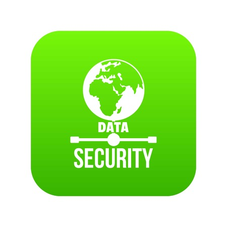 Global data security icon green vector