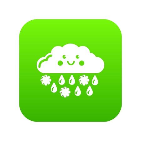 Snow and rain icon green vector