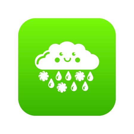 Snow and rain icon green vector